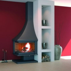 FocGrup Right Angle Chimney in Black Steel 14.5kW Open Fire 55