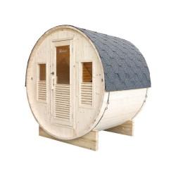 Sauna traditionnel d'extérieur Gaïa Bella 3 places Holl's avec Poêle Harvia Véga 6 kW