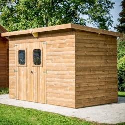 Gartenhütte Habrita Massivwald 6,45 m2 und Dach aus Stahl