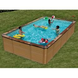 Pool Wood Zodiac Azteck rectangular Offse ground 690 x 365