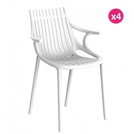 Set of 4 Vondom Ibiza chairs with white armrests