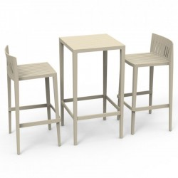 Set Spritz table and 2 stools Vondom seat height 76cm unbleached