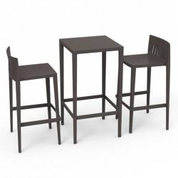 Set Spritz table and 2 stools Vondom seat height 76cm bronze