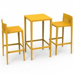 Set Spritz table and 2 stools Vondom seat height 76cm yellow
