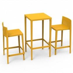 Set Spritz table and 2 stools Vondom seat height 66cm yellow
