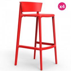 Lot de 4 tabourets de bar Vondom Africa hauteur d'assise 74,5 cm rouge