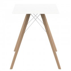 Dining table Vondom Faz Wood white square top and natural oak feet