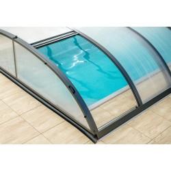 Refugio de piscina en aluminio antracita y policarbonato 390 x 642 x 75
