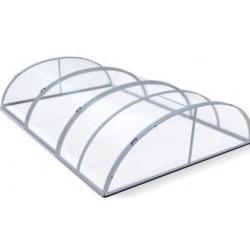Zwembadschuilplaats in aluminium en polycarbonaat 390 x 642 x 75