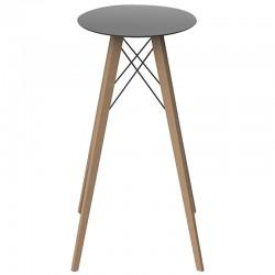Table Haute Vondom Faz Wood Plateau Rond Hpl Noir et Pieds Chêne Naturel Diamètre 60 x H105cm
