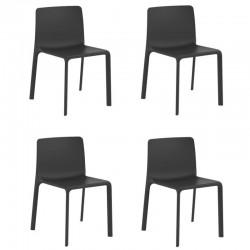 Lot de 4 fauteuils Vondom Kes noir