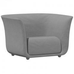 Fauteuil Vondom design Suave en tissu déperlant gris acier 1042