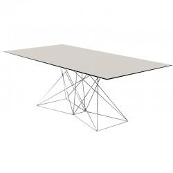 Table Faz Vondom 200x100 piètement inox plateau blanc