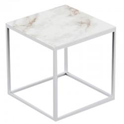 Table basse carrée Pixel Vondom Dekton Entzo blanc et pieds blancs 40x40xH25