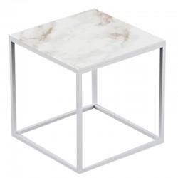 Table basse carrée Suave Vondom Dekton Entzo blanc et pieds blancs 40x40xH40
