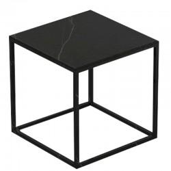 Table basse carrée Pixel Vondom Dekton Kelya noir et pieds noirs 40x40xH25