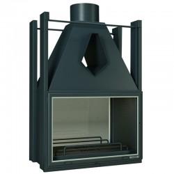 Foyer Insert double face Focgrup 10Kw en acier avec 2 cotés vitrés Anthracite