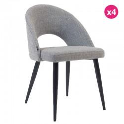 Lot de 4 Chaises avec dossier ergonomique et tissu gris clair pieds noirs KosyForm