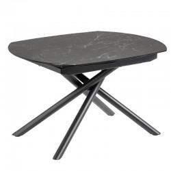 Table extensible 130 à 190x100 plateau grès cérame noir gris KosyForm