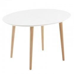 Table Ovale Extensible 120 à 200x90 Blanc et pieds de hêtre KosyForm