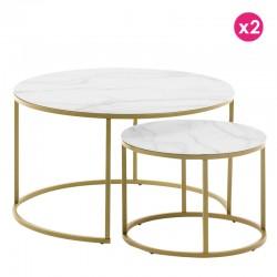Ensemble de 2 tables basse ronde 80 et 50 Verre blanc et acier doré KosyForm