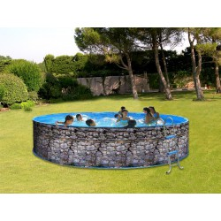 Swimming pool above ground steel TOI Piedra grey round Decoration stone 4 x 0.90 M